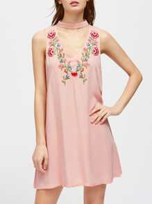 V-Cut Choker Neck Embroidered Swing Dress