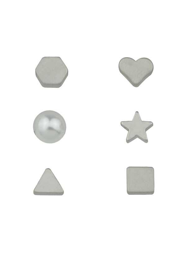 6 Pcs/Set Silver Color Heart Star Triangle Small Stud Earrings modern 3 color adjustable triangle