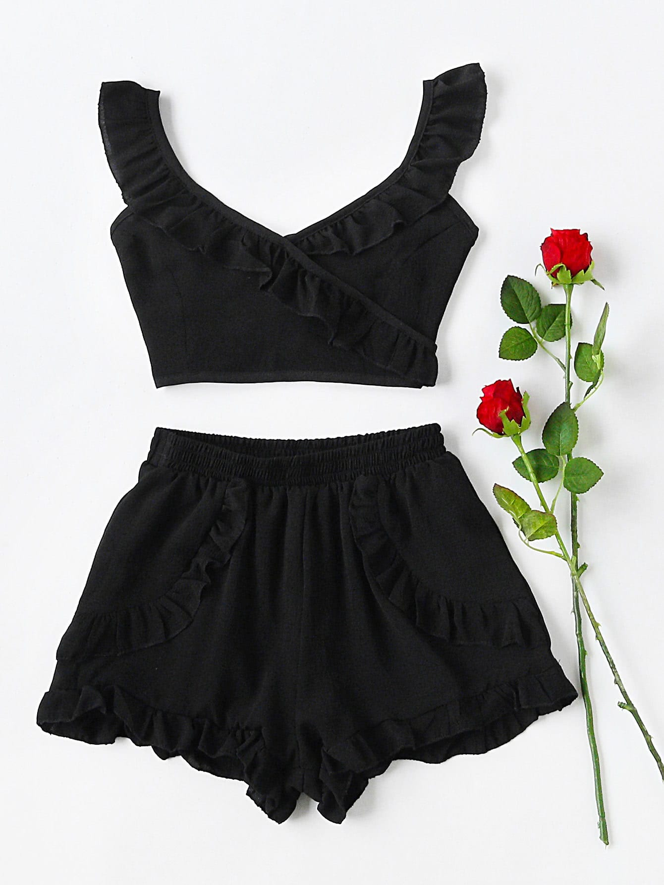 Фото Ruffle Trim Tie Back Nightwear Set. Купить с доставкой