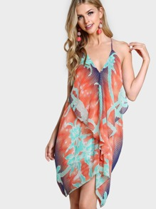 Drapping Ruffle Multi Print Dress ORANGE MULTI
