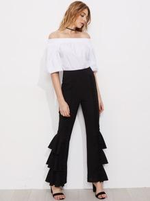 Модные брюки с оборкой
