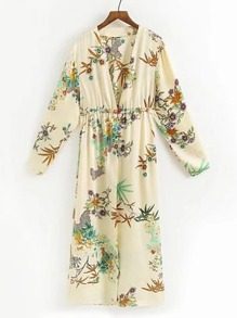 Plunging V-Neckline Shirred Waist Dress