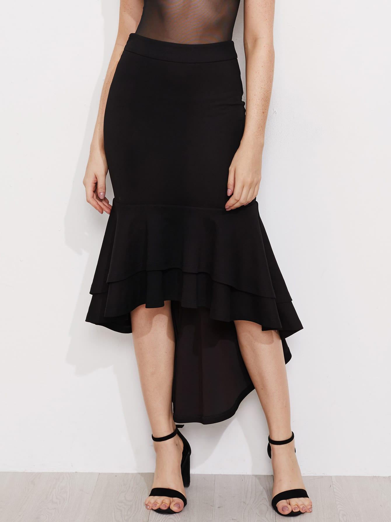 Фото Layered Flounce Trim Hi Lo Fishtail Skirt. Купить с доставкой