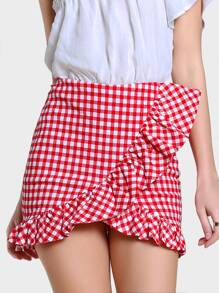 Ruffle Gingham Skirt RED