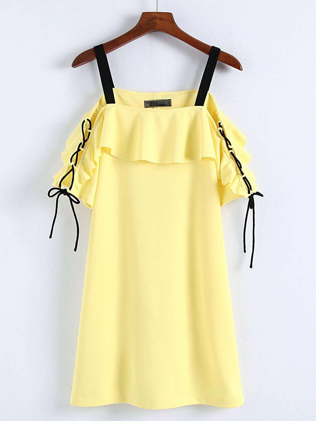 Фото Contrast Strap Lace Up Sleeve Ruffle Dress. Купить с доставкой