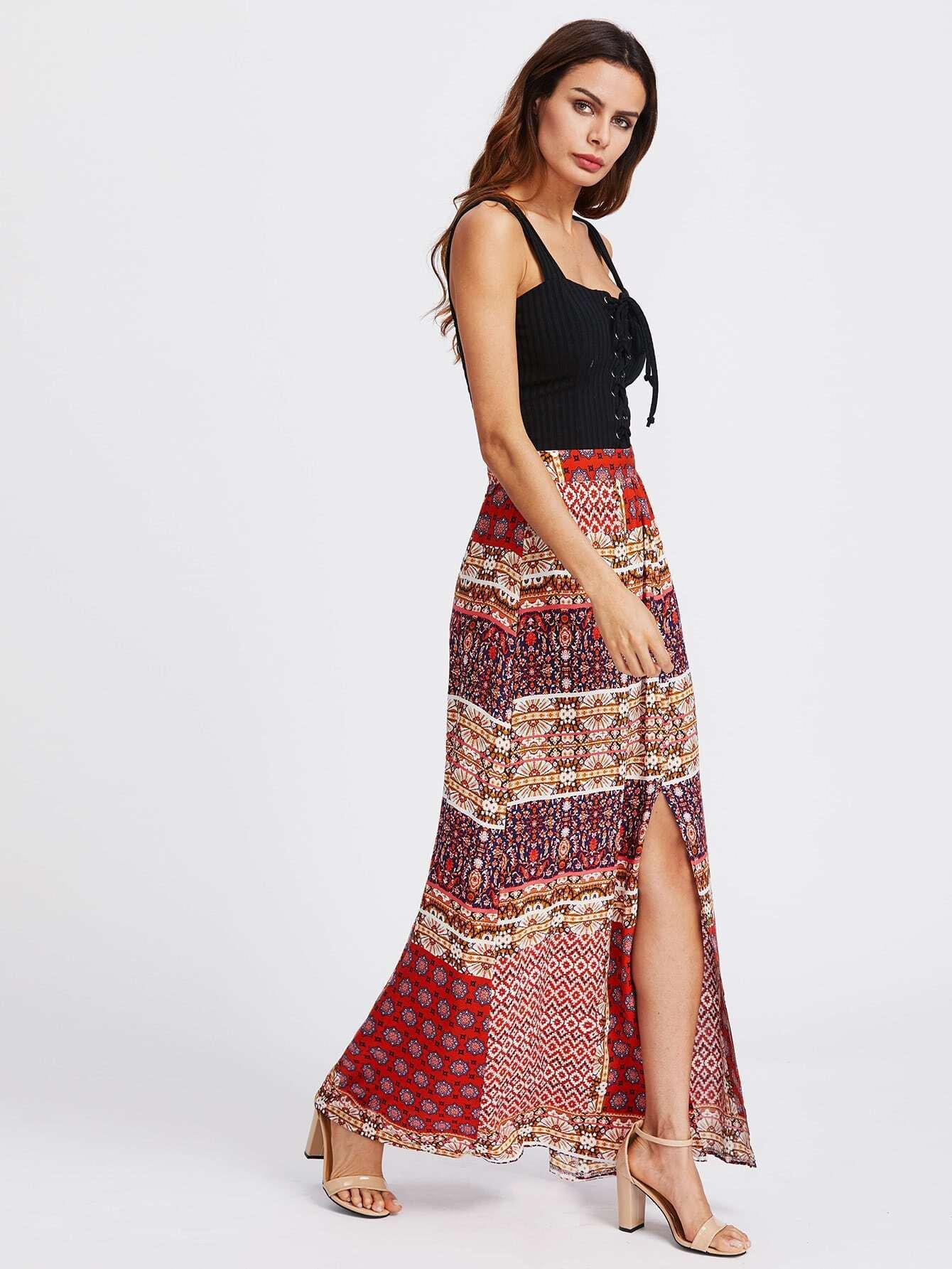 Split Front Tribal Print Skirt