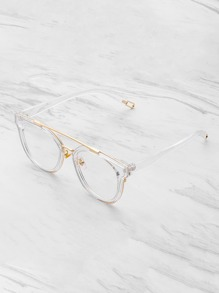 Metal Top Bar Clear Frame Glasses