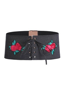 Flower Embroidery Eyelet Lace Up Corset Belt
