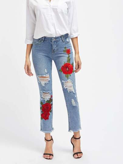 Embroidered Appliques Ripped Frayed Hem Jeans