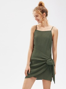 Self Tie Overlap Cami Dress