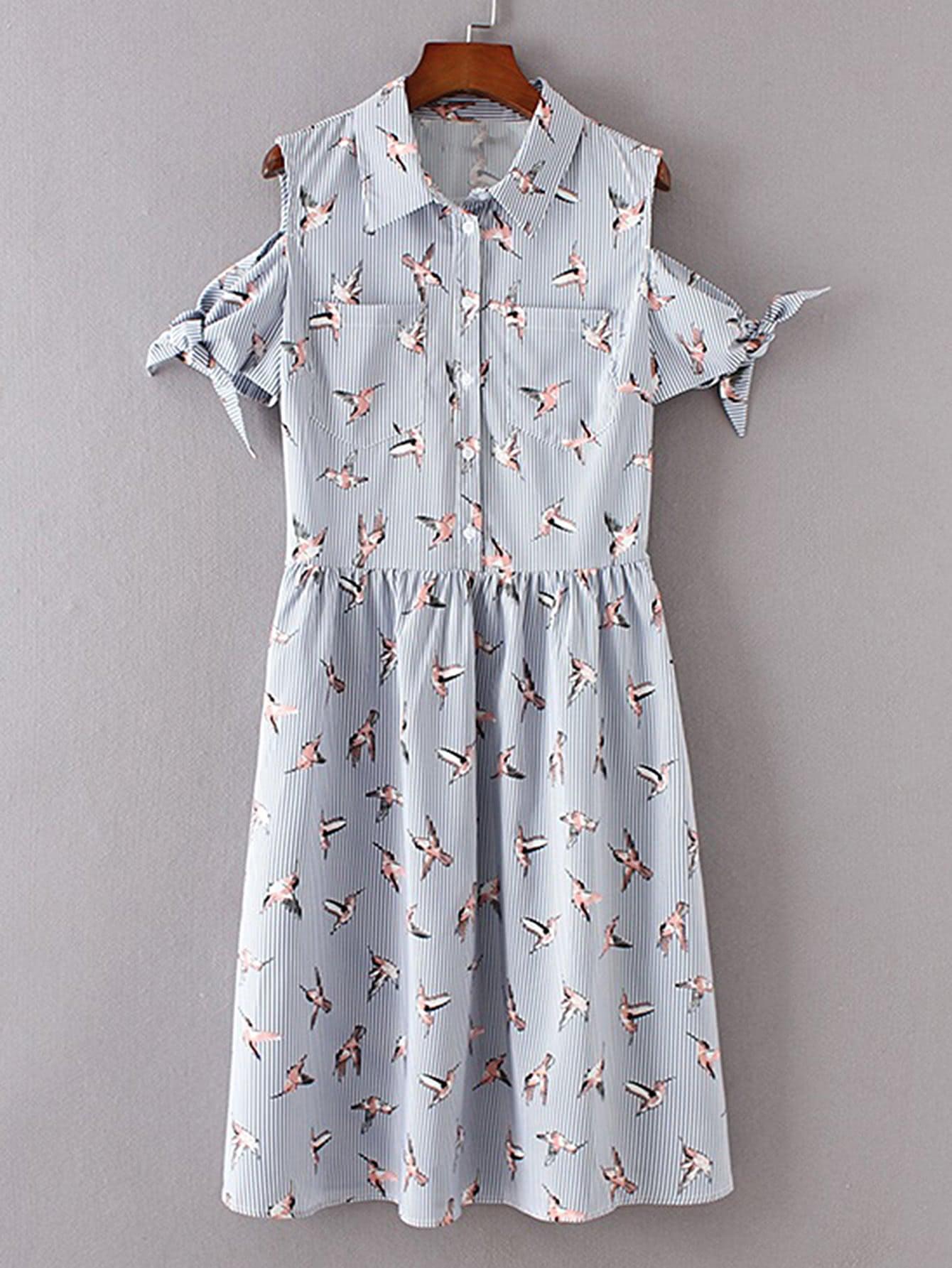 Фото Open Shoulder Pinstripe Knot Detail Shirt Dress. Купить с доставкой