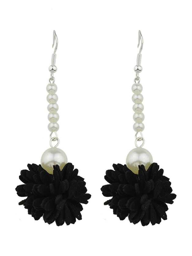 Фото Black Color Imitation Pearl Flower Danling Earrings. Купить с доставкой