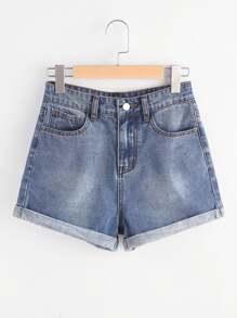 Shorts con bolsillos en denim