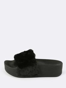 Furry Flatform Slides BLACK