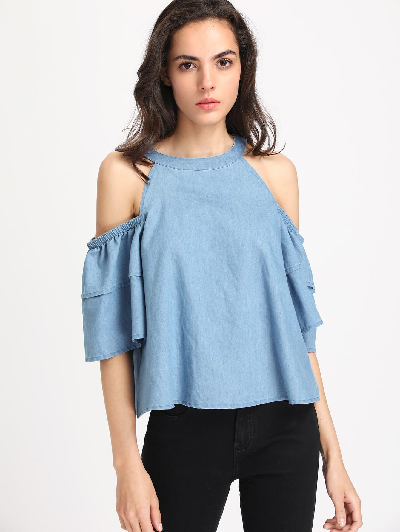 Фото Open Shoulder Layered Sleeve Chambray Top. Купить с доставкой