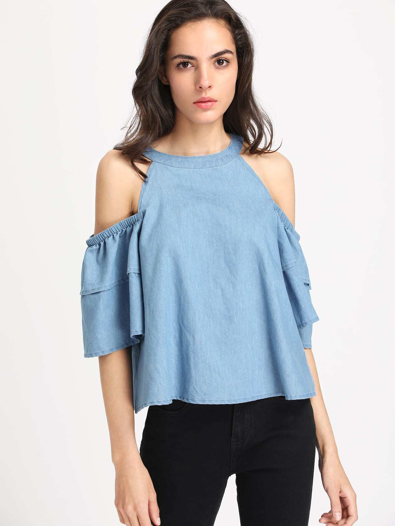 Open Shoulder Layered Sleeve Chambray Top oblique shoulder layered frill ditsy top