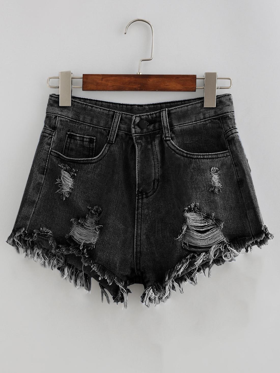 Фото Bleach Wash Distressed Denim Shorts. Купить с доставкой