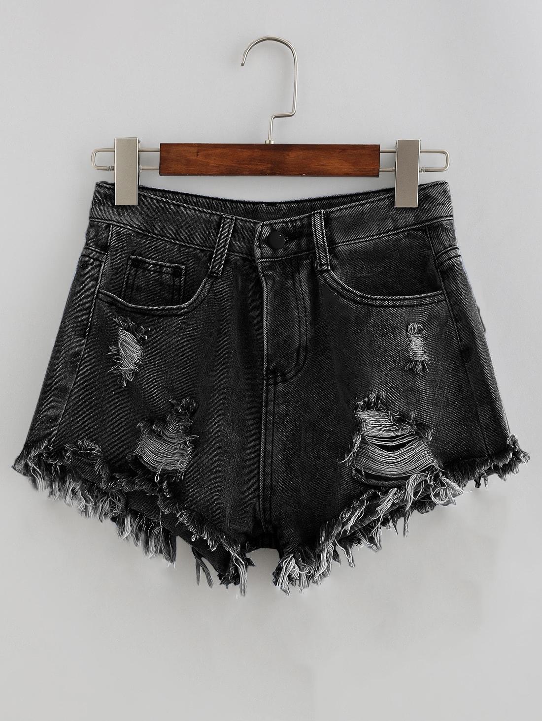 Bleach Wash Distressed Denim Shorts shorts170605450