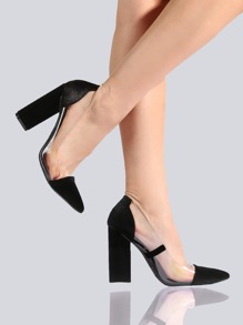 Velvet Clear Point Toe Pumps BLACK