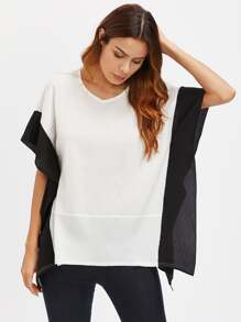 Color Block V-neckline Kaftan Blouse