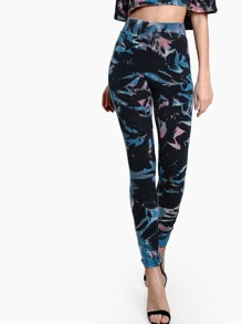 Tie Dye Print Leggings BLACK