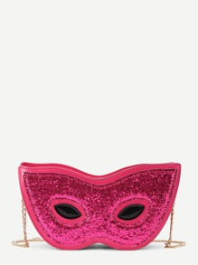 Glitter Detail Cat Eye Shaped PU Crossbody Bag