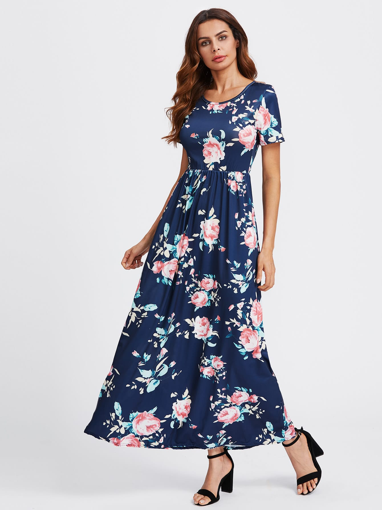 fec408bbf8 Flower Print Maxi Dress Flower Print Maxi Dress Dresses SheIn Product  Catalog Multicolor Vacation Polyester Scoop Neck Short Sleeve ...