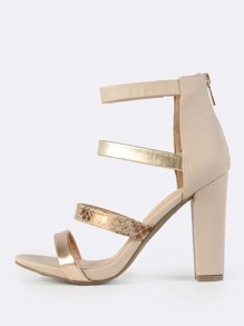 Multi Colored Strap Heels CAMEL