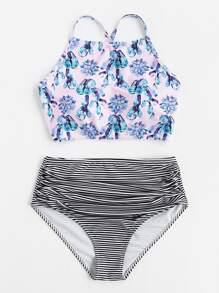 Striped And Floral Print Criss Cross Back Bikini Set