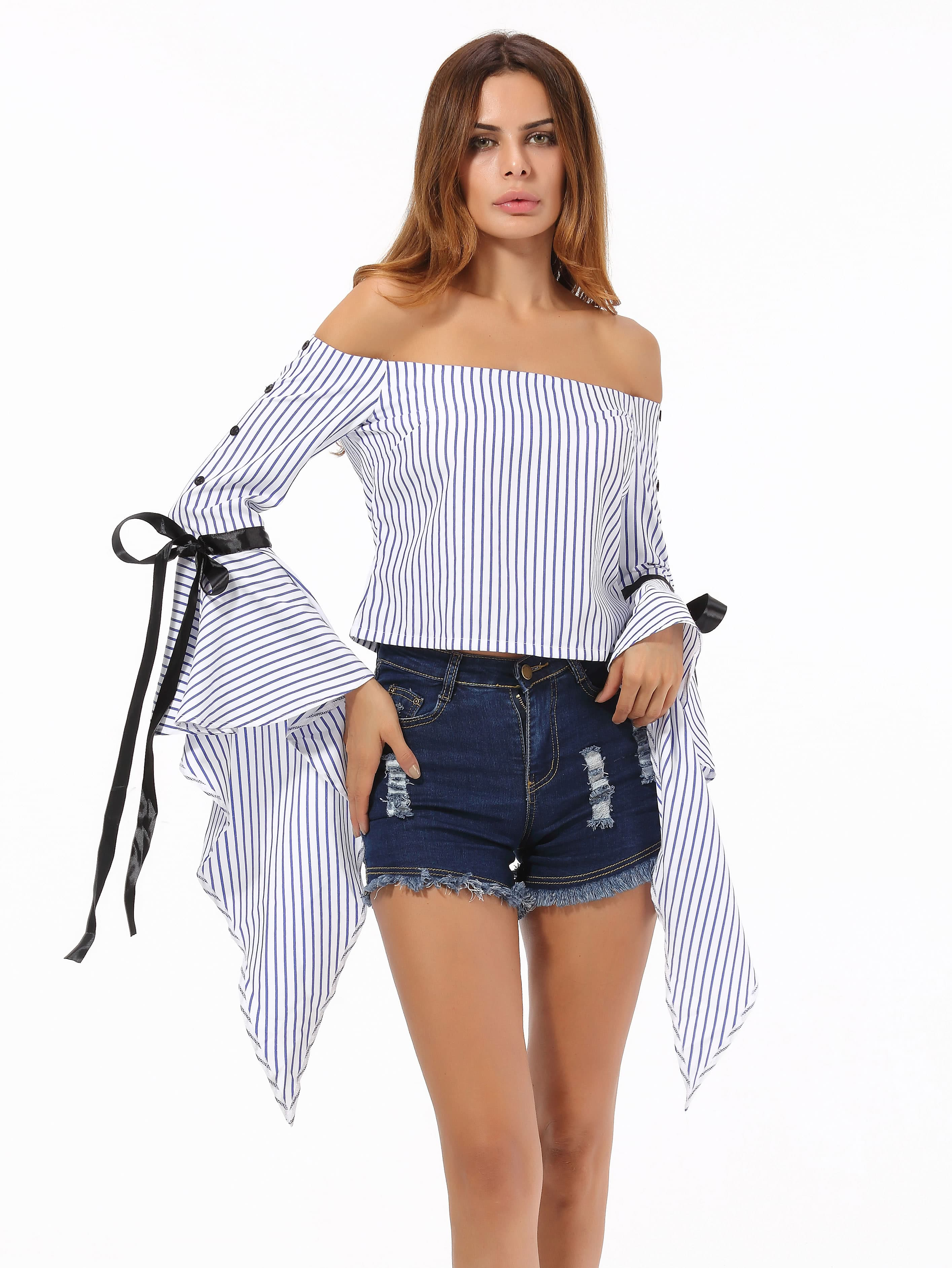 Фото Bardot Striped Ribbon Tie Top With Exaggerated Flute Sleeve. Купить с доставкой