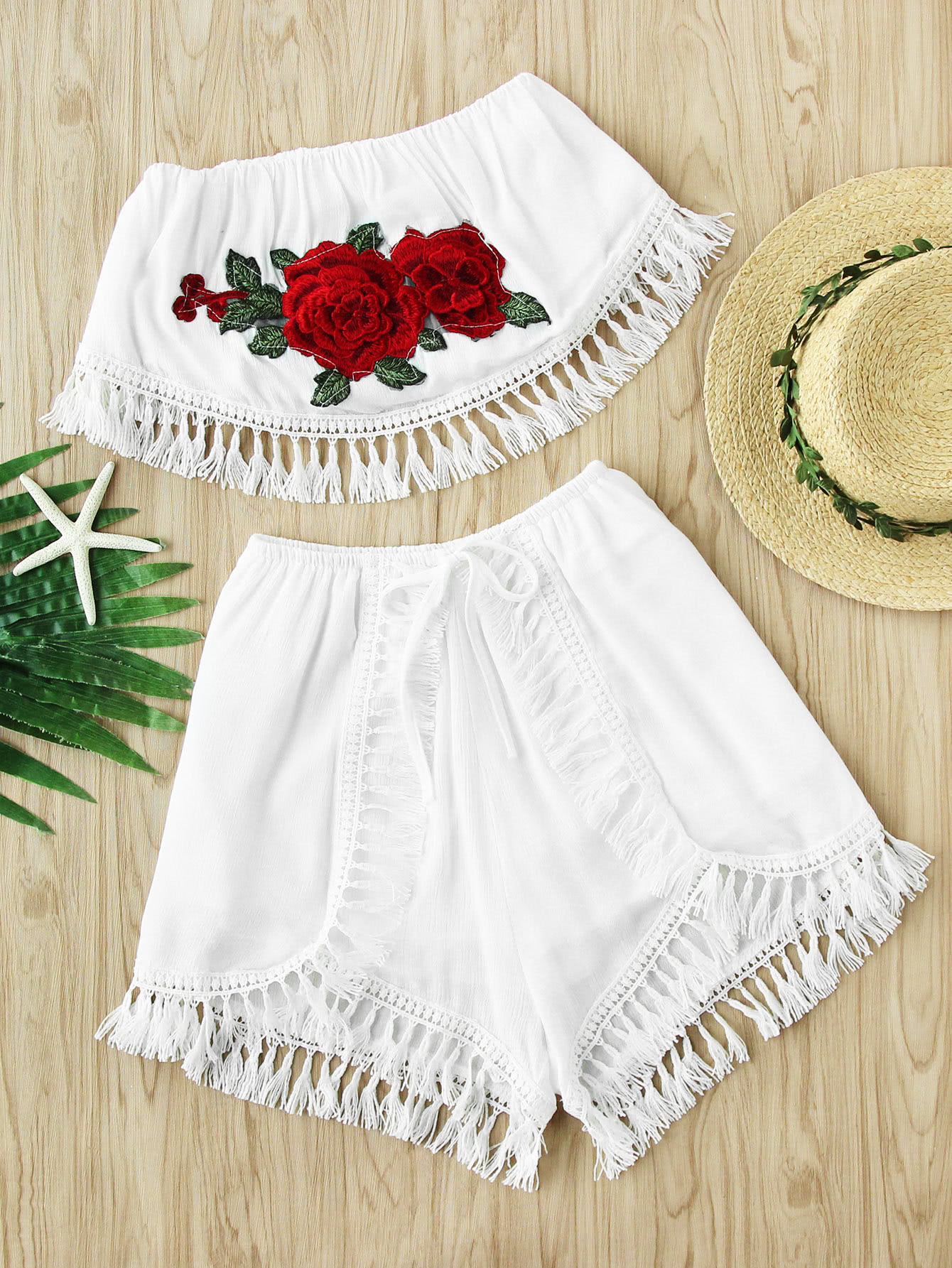 Embroidered Appliques Crochet Tassel Trim Top With Shorts white crochet trim shoulder tie with tassel camis