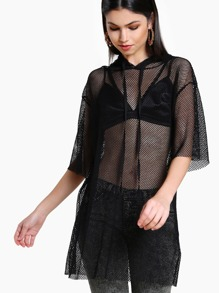 Fishnet Hoodie Top BLACK