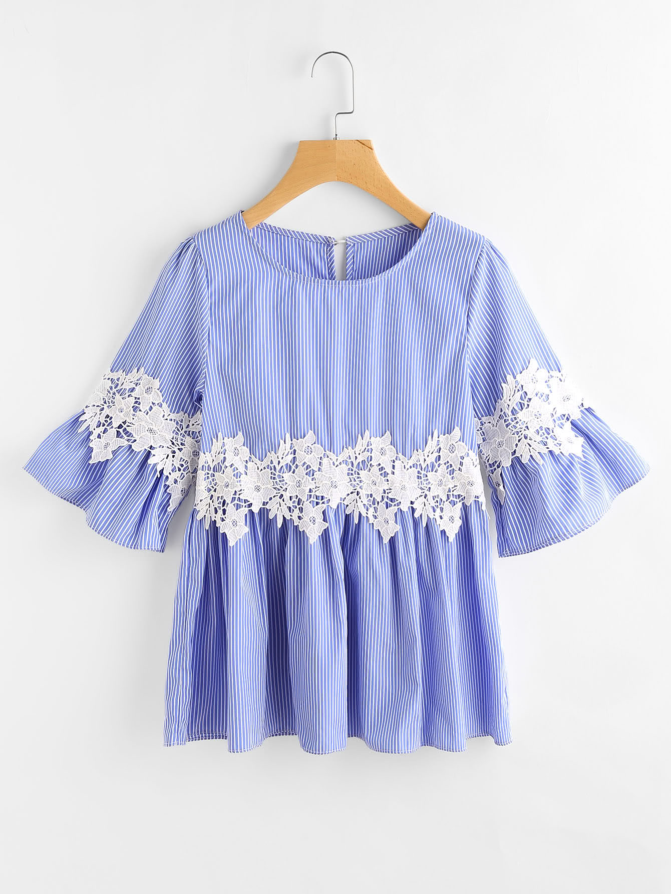 Bell Sleeve Lace Appliques Pinstripe Top