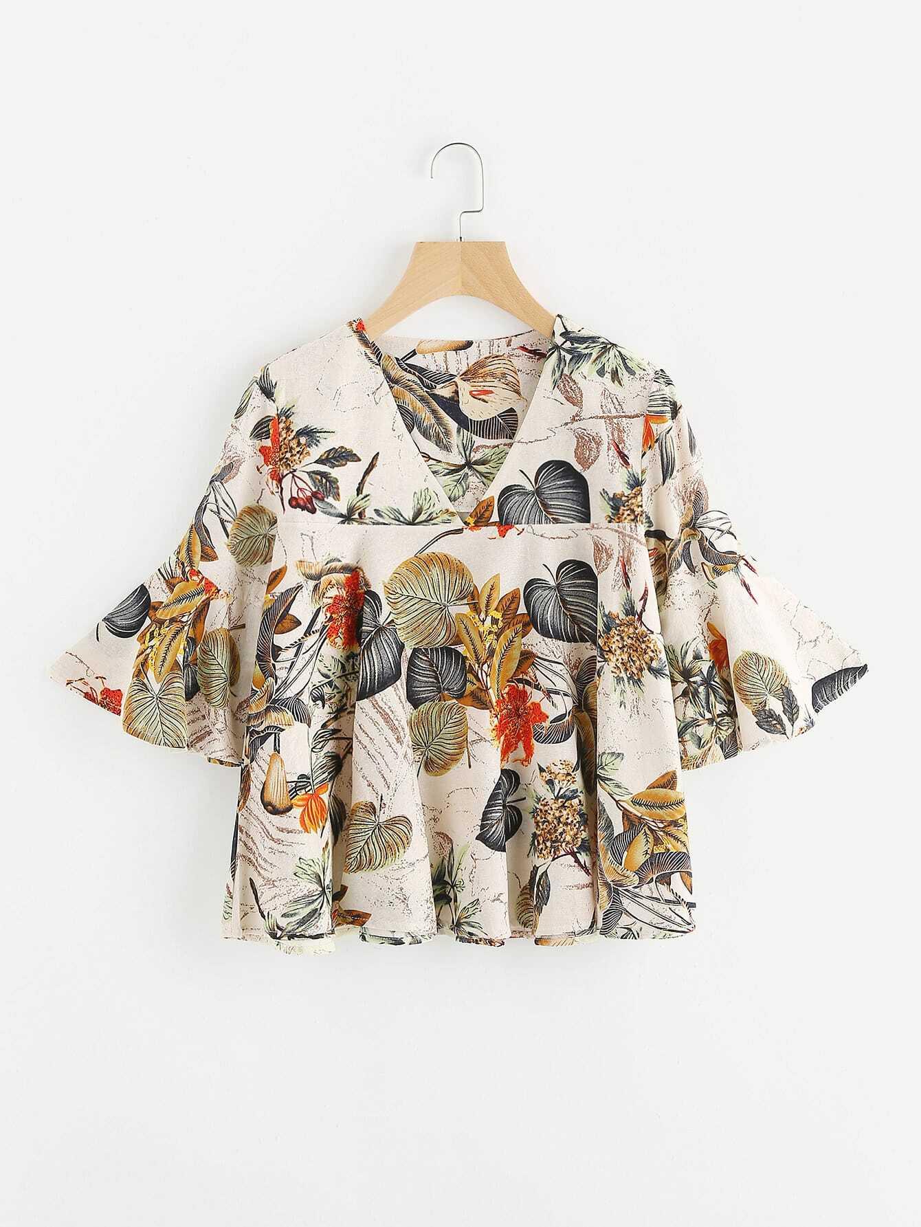 Tropical Print V Neckline Flute Sleeve Blouse crisscross surplice neckline tie detail tropical print blouse