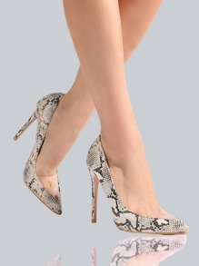 Closed Toe Snake Print Heels SNAKE