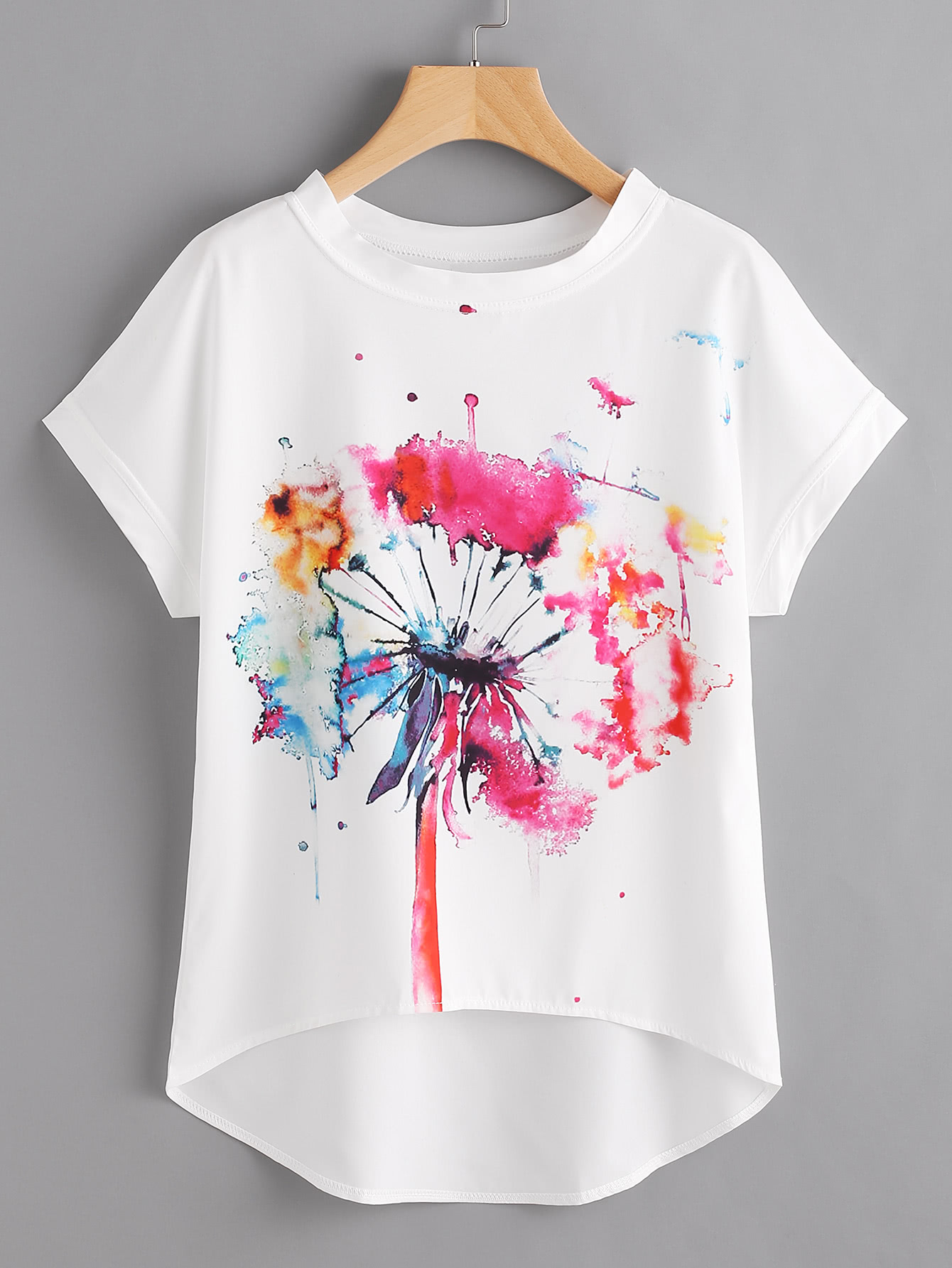 Watercolor Painting Print Dip Hem Chiffon Top all over feather print dip hem chiffon top