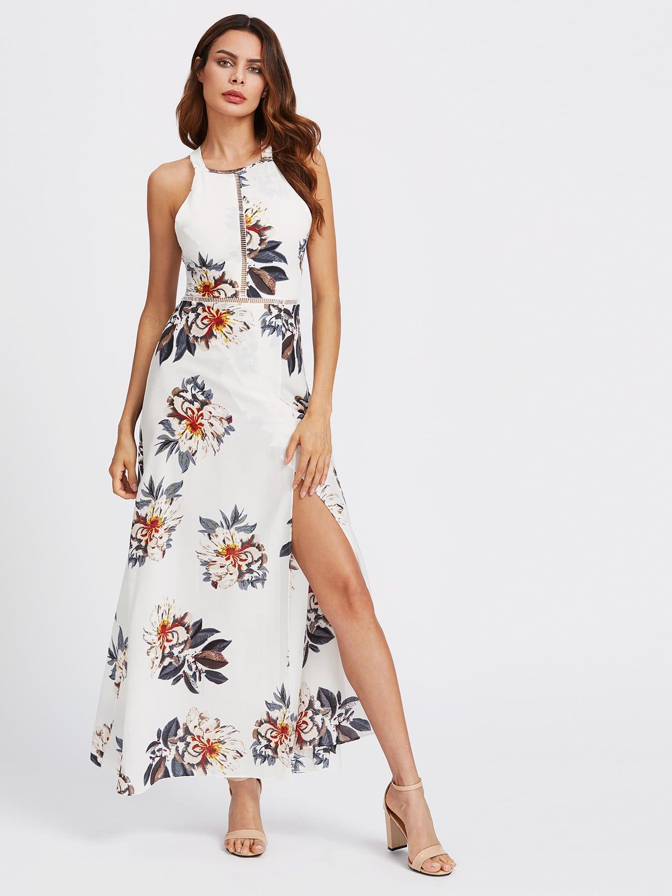 Фото Halter Laser-cut Bow Tie Backless Slit Dress. Купить с доставкой