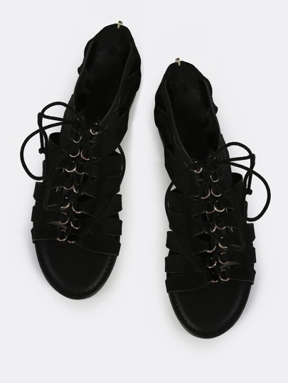 Caged Lace Up Sandals BLACK
