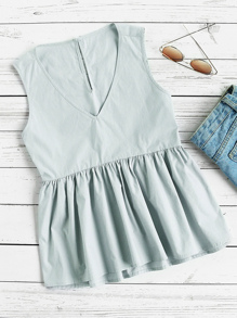 Buttoned Keyhole Back Smock Shell Top