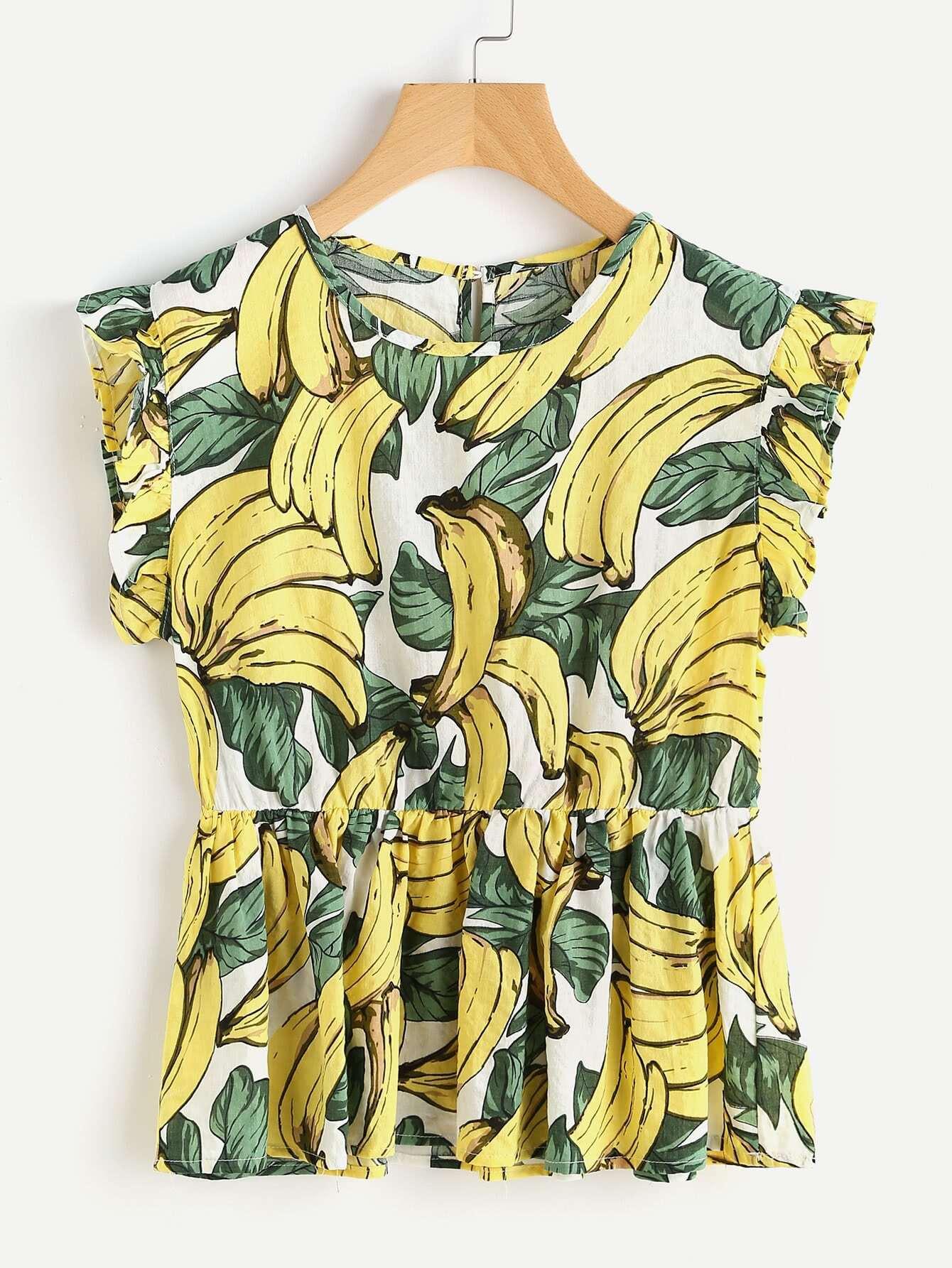 Фото Banana Leaf Print Frill Trim Smock Top. Купить с доставкой