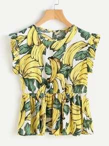 Camicetta con stampa di banana e foglia