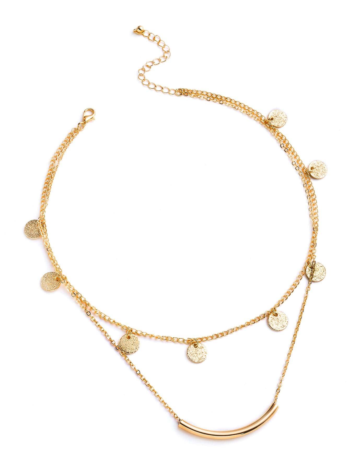 Фото Bar And Sequin Design Layered Necklace. Купить с доставкой