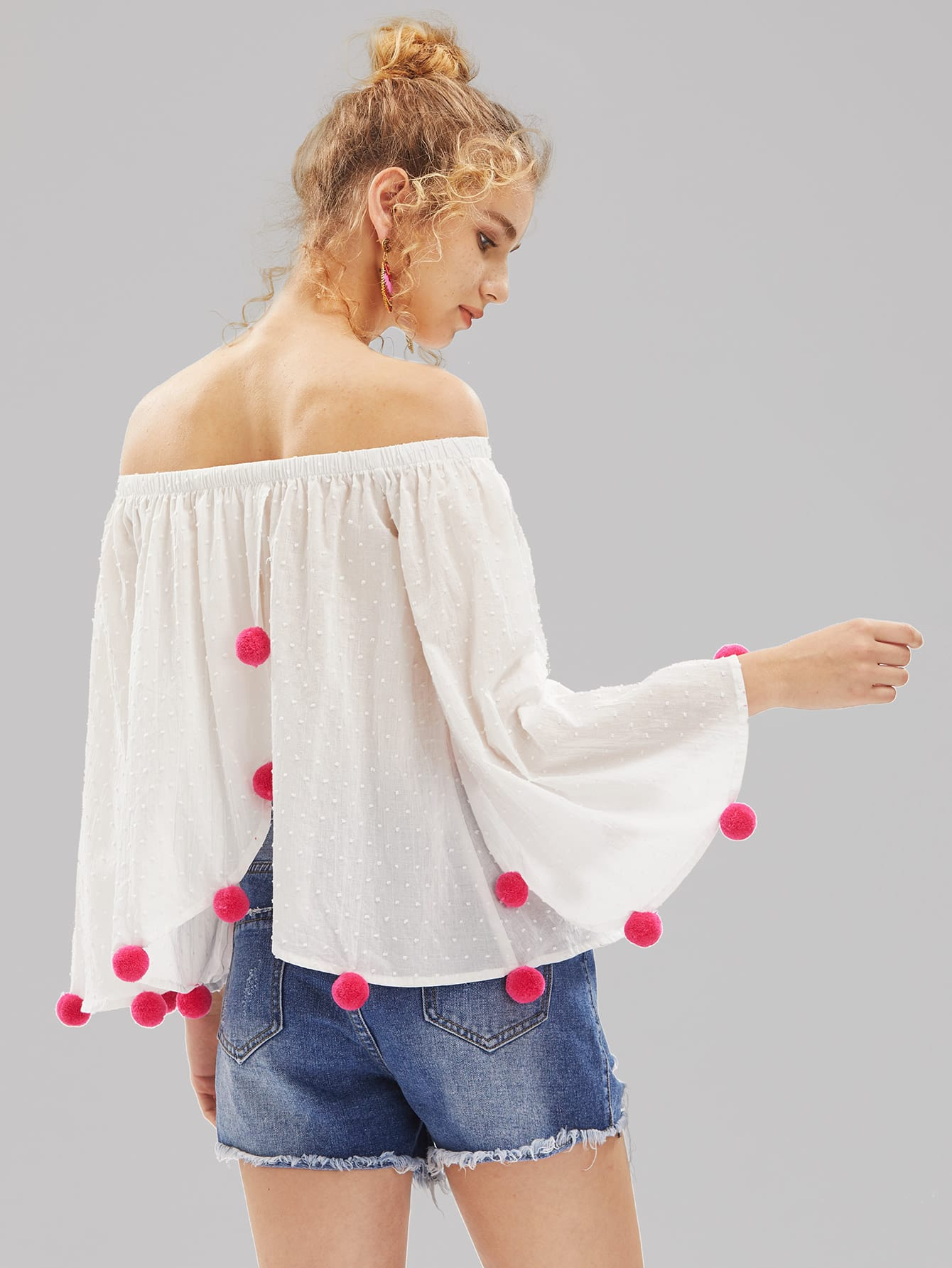Фото Pom Pom Trim Trumpet Sleeve Overlap Back Dot Jacquard Top. Купить с доставкой