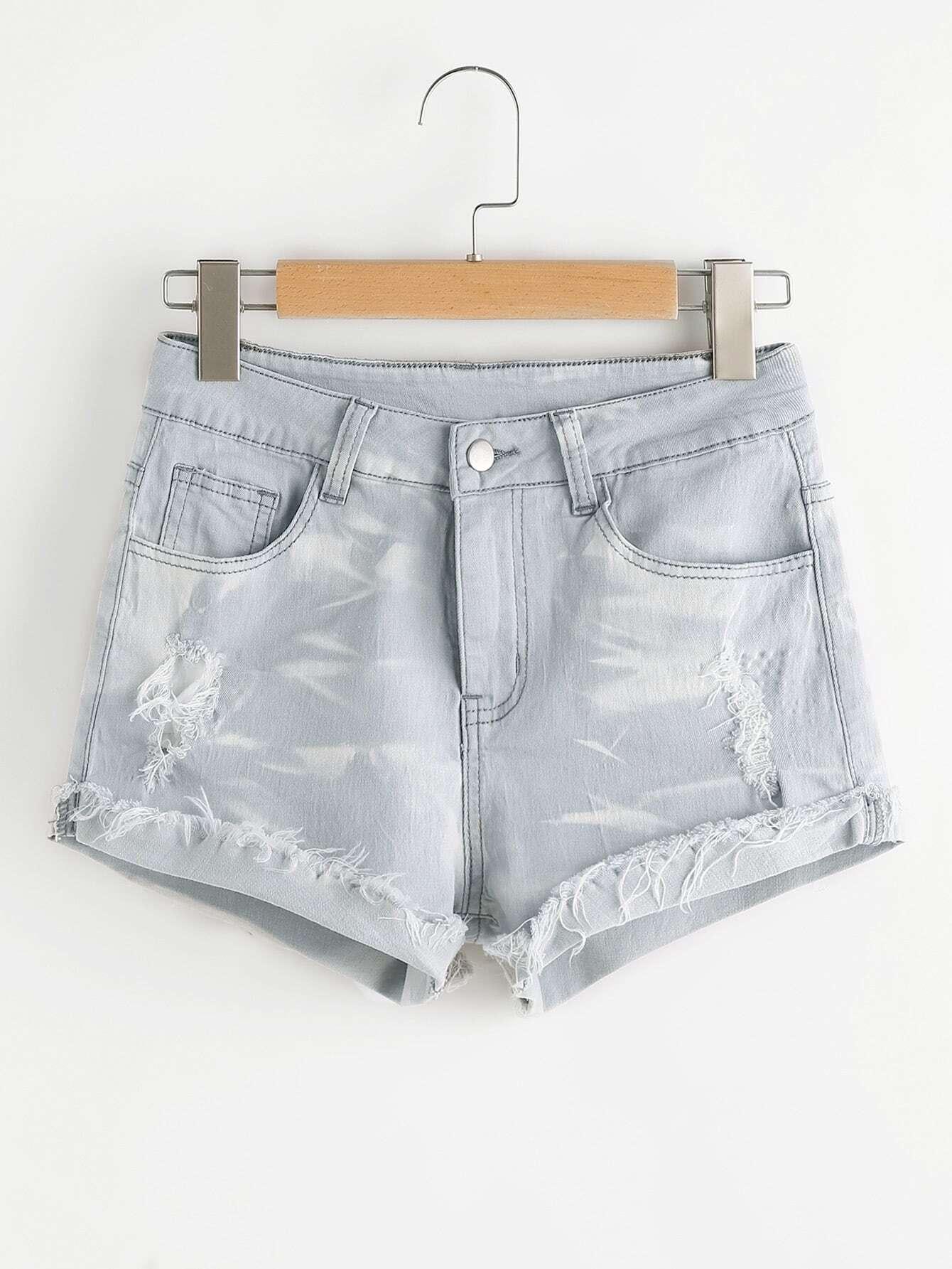 Фото Light Wash Cuffed Distressed Denim Shorts. Купить с доставкой