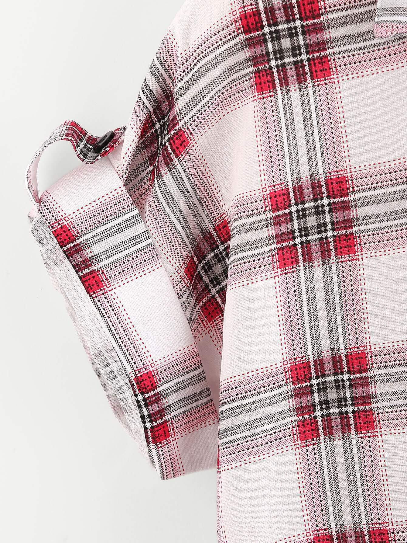 Tartan Plaid Rolled Sleeve Knotted Shirt