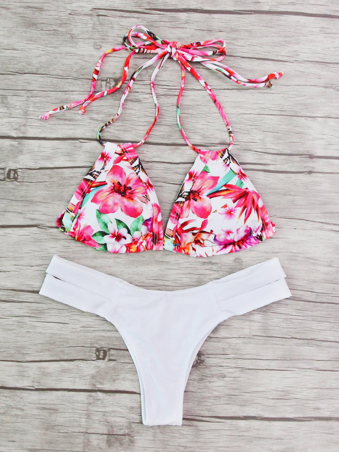 Calico Print Mix & Match Halter Bikini Set swimwear170605304