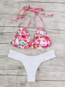 Set di bikini allacciato al collo con stampa di calicò