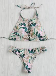 Sets de bikini con tiras cruzadas con estampado de follaje