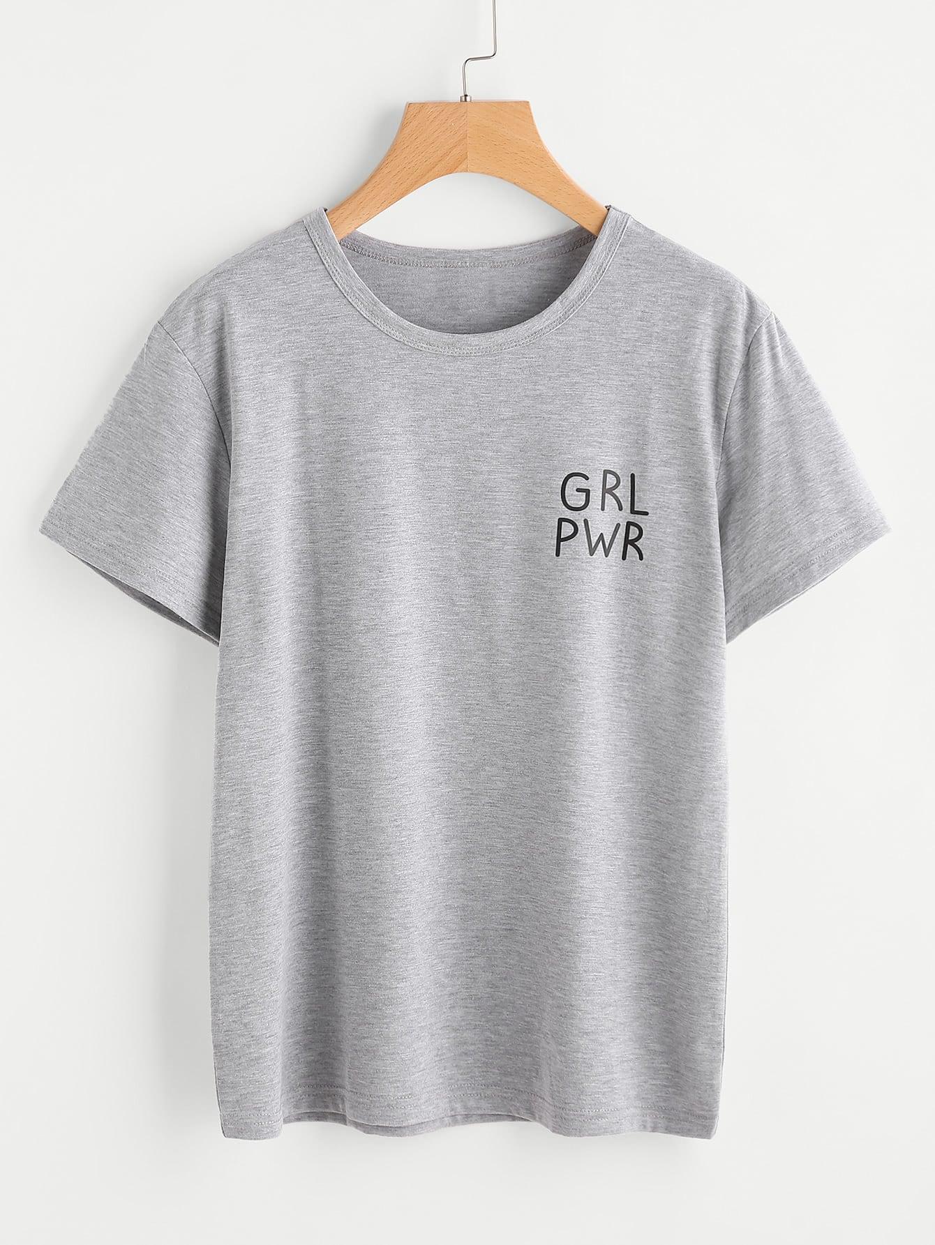 Купить Модная вязаная футболка с текстовым принтом, null, SheIn