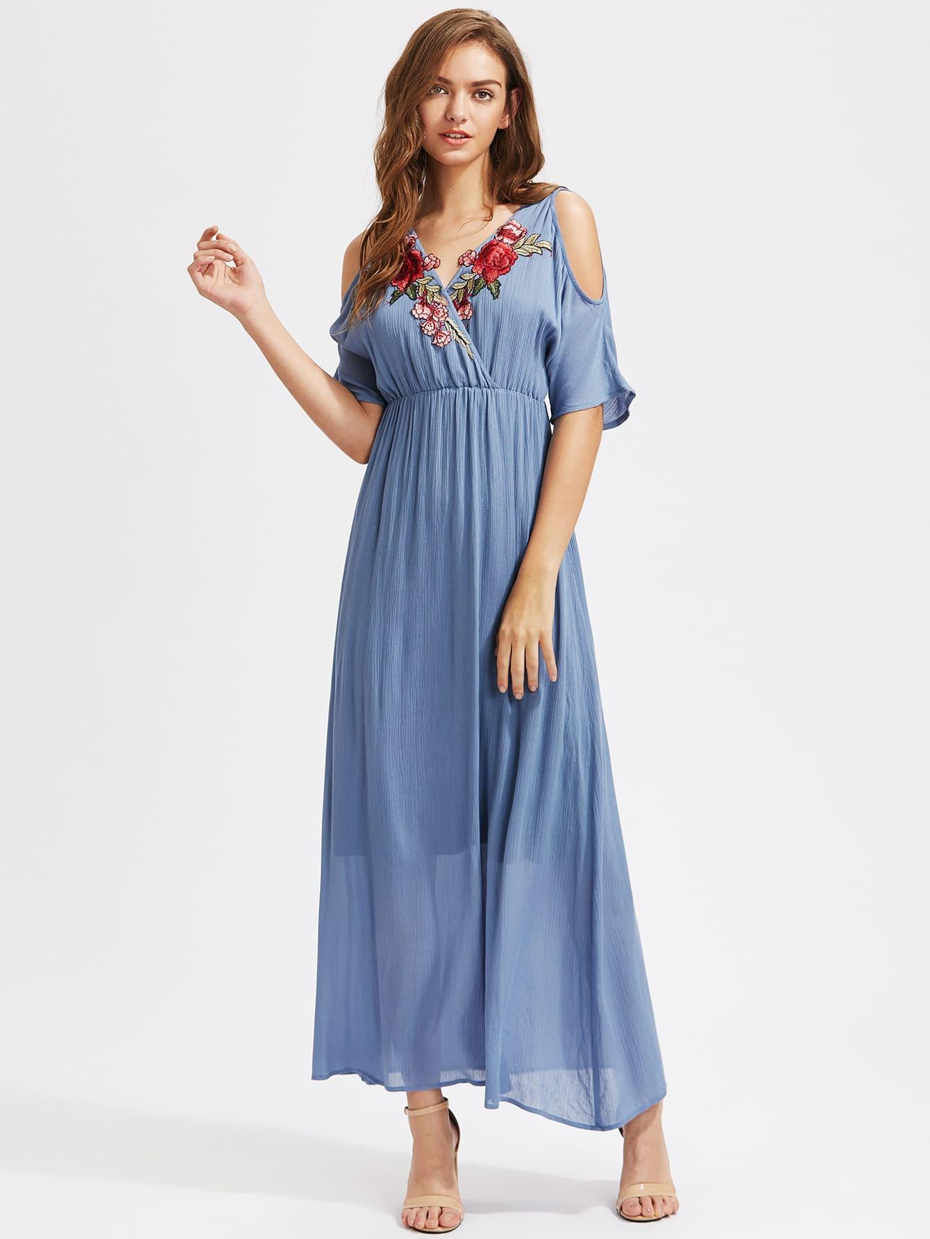 Фото Rose Patch Surplice Front Open Shoulder Empire Waist Dress. Купить с доставкой